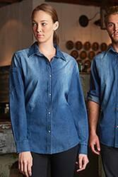 Womens Trenton Distressed Denim Shirt