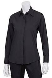 Womens Black Basic Dress Shirt