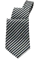 Silver Diagonal Striped Tie