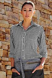 Womens Black Gingham Dress Shirt