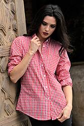 Womens Red Gingham Dress Shirt