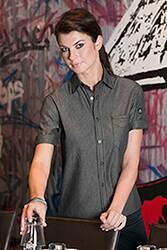 Detroit Striped Short-Sleeve Denim Shirt