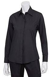 Womens Black Basic Dress Shirt